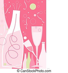Celebration in Light Pink Theme - New Years champagne and...