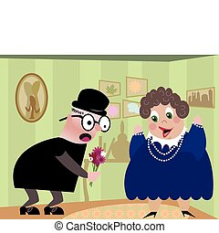 Old Man with Flowers - Elderly man giving elderly woman a...