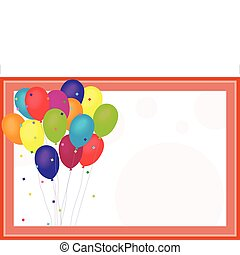 Birthday Balloons on confetti and polka dot background