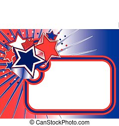Red white blue stars banner - Red white blue banner with 3D...