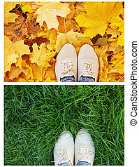 legs shoes on the green grass - legs in shoes on the green...
