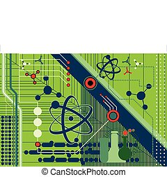 Science and Technology collage featuring atomic symbols and...