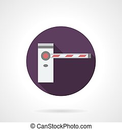 Barrier purple round flat vector icon - Classic closed road...