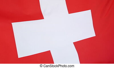 Flag of Switzerland, closeup - Closeup of national flag of...