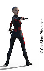 Super girl isolated - 3d render of a super girl in black...