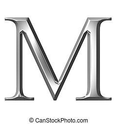 3D Silver Greek Letter My