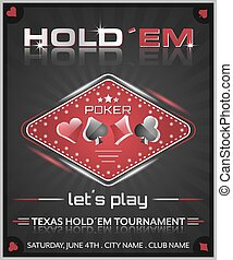 Texas holdem poker tournament poster. Vector illustration...