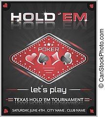 Texas holdem poker tournament poster. Vector illustration...