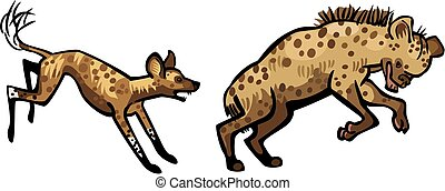 Wild Dog Chasing a Hyena - Illustration of an African Wild...