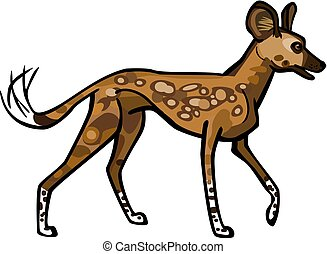 African Wild Dog - Illustration of an African Wild Dog, or...