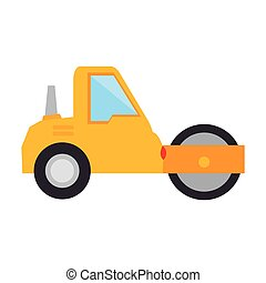 steamroller construction truck vehicle industry vector...