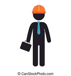 construction man wearing suit and tie