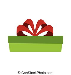 green gift box with red ribbon