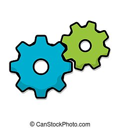 green and blue gears