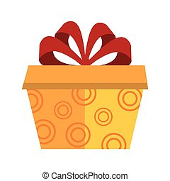yellow gift box with red ribbon