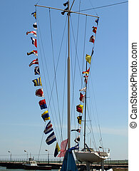 Sea alarm flags - Set of the sea alarm flags on a mast on...