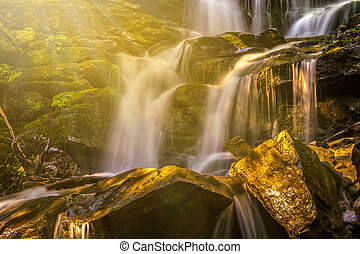 beautiful waterfall in sun rays