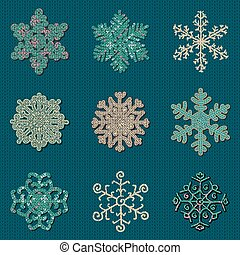Set of Nine Vector Cute Sewn Knitted Snowflakes - Set of...