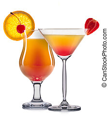 Set of orange cocktails with decoration from fruits and...