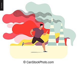 Young man running in smog, gas-polluted air Flat vector...