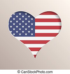 Heart with USA flag on background