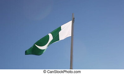 National flag of Pakistan in slow motion - National flag of...
