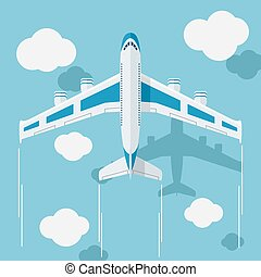 Picture of a civilian plane with clouds. - Picture of a...