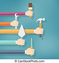 Hands holding housework and repair tools. Flat vector...