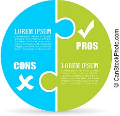 Pros and cons jigsaw chart template