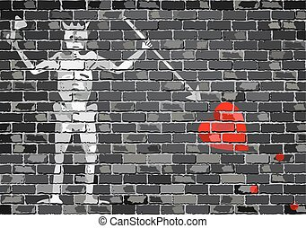 Blackbeard pirate flageps - Pirate flag on a brick wall -...