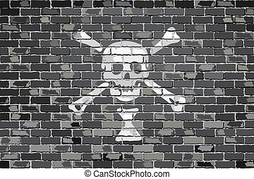 Emanuel Wynn pirate flageps - Pirate flag on a brick wall -...