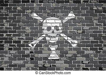 Emanuel Wynn pirate flag.eps - Pirate flag on a brick wall -...