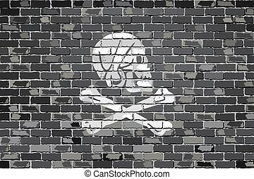 Henry Every pirate flageps - Pirate flag on a brick wall -...