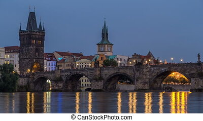 The Charles Bridge day to night timelapse over the Vltava...