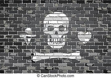 Stede Bonnet pirate flageps - Pirate flag on a brick wall -...
