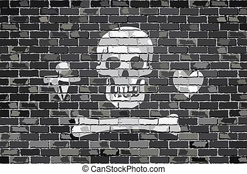Stede Bonnet pirate flag - Pirate flag on a brick wall -...