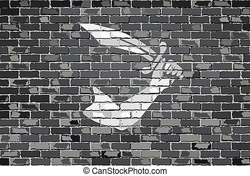 Thomas Tew pirate flag - Pirate flag on a brick wall -...