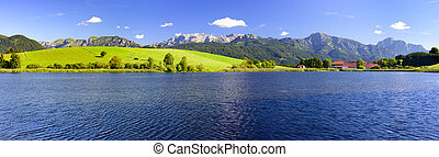 panorama landscape in Bavaria with alps mountains mirroring...