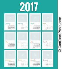 Design of Wall Monthly Calendar for 2017 Year. Print Template with Place for Photo, Your Logo and Text. Week Starts sunday. Set of 12 Months.