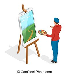 Isometric Artist painting with colorful palette standing near easel. Flat 3d infographic concept vector template.