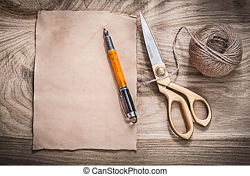 Vintage paper fountain pen golden scissors hank of rope on...