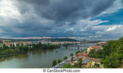 View of Prague timelapse from the observation deck of...