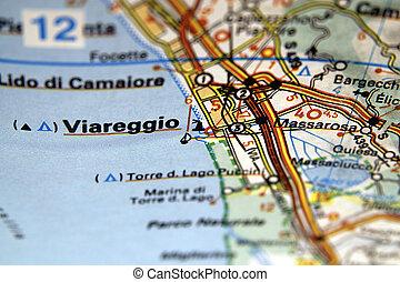 Map of Viareggio in Italy