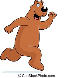 Bear Running - A happy cartoon bear running and smiling.