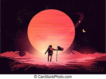 Spaceman Adventure - an astronaut exploring a new planet....