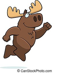 Moose Jumping - A happy cartoon moose jumping and smiling.