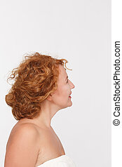 Happy mature woman - Profile of happy red haired mature or...