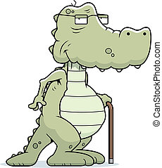 Old Alligator - A cartoon old alligator with a cane.
