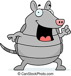 Armadillo Idea - A happy cartoon armadillo with an idea.