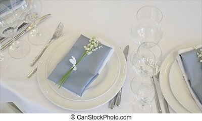 Detail of a wedding dinner setting.